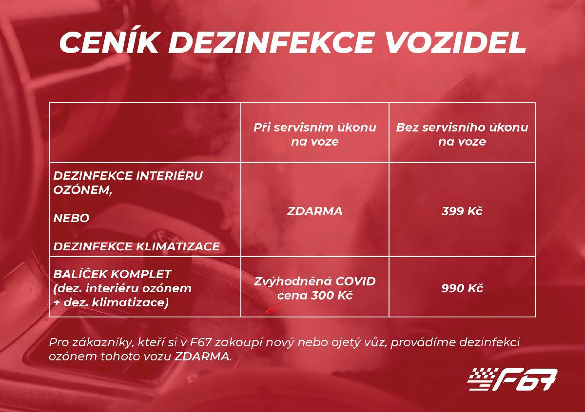 Ceník dezinfekce vozidel